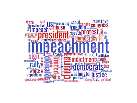 Saint Petersburg, Russia - December 31, 2019: Illustration in the form of a cloud of words related to the beginning of the impeachment procedure of the President of the United States Trump