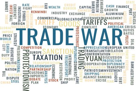 Concept in the form of a cloud of tags associated with the Trade war Illustration