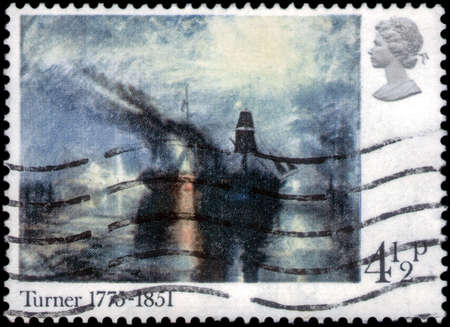 Saint Petersburg, Russia - March 21, 2020: Stamp issued in the United Kingdom with the image of The picture Peace - Burial at Sea. From the series on Birth Bicentenary of J.M.W. Turner, circa 1975