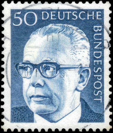 Saint Petersburg, Russia - April 14, 2020: Stamp issued in the Federal Republic of Germany with a portrait of the Dr. h.c. Gustav Heinemann, 1899-1976, 3rd Federal President. From the series on Federal President Dr. Gustav Heinemann, circa 1971