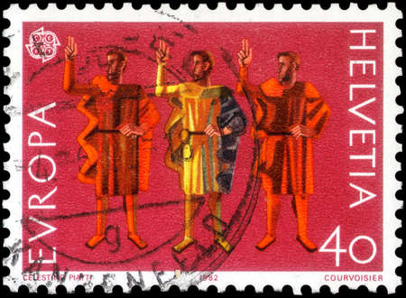 Saint Petersburg, Russia - May 17, 2020: Stamp printed in the Switzerland with the image of the Ruetli oath, circa 1982