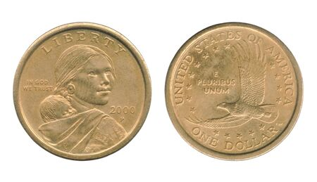 Sacagawea one dollar coin of the United States isolated on a white background. Stock Photo