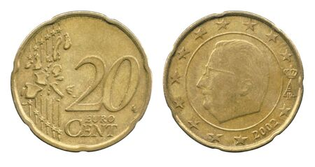 20 Euro cents coin of the Belgium isolated on a white background. Foto de archivo
