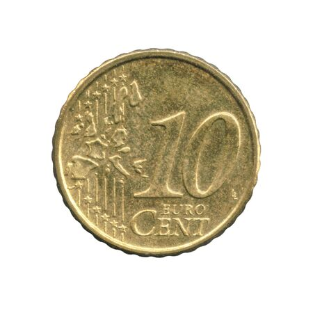 10 Euro cents coin of the Finland isolated on a white Foto de archivo