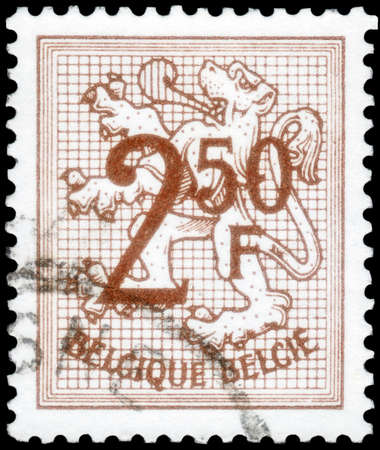 Saint Petersburg, Russia - September 18, 2020: Postage stamp issued in Belgium with the image of the Number on Heraldic Lion, circa 1970 Editorial