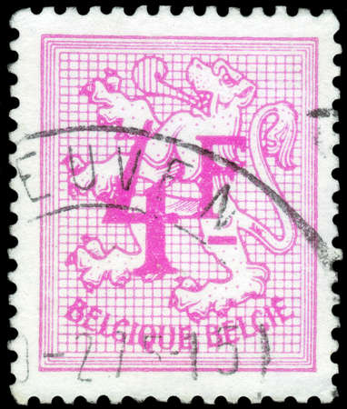 Saint Petersburg, Russia - September 18, 2020: Postage stamp issued in Belgium with the image of the Number on Heraldic Lion, circa 1974 Editorial