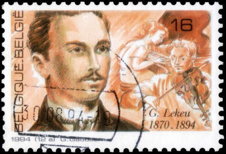 Saint Petersburg, Russia - September 27, 2020: Postage stamp issued in Belgium the image of the Guillaume Lekeu. From the series on 100th anniversary of the death of Guillaume Lekeu, circa 1994