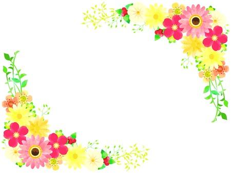 Various flowers in spring illustration frames  イラスト・ベクター素材