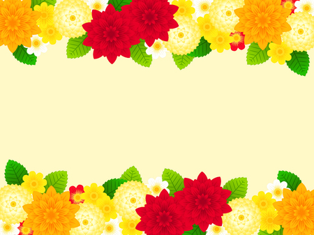 Illustration background of Orange and Red Dahlia flowers Ilustrace