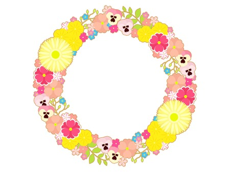 Colorful illustration background spring many flower, Gerbera daisy, Pansy and forget-me-not Ilustração