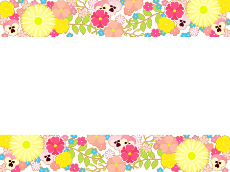 Colorful illustration background spring many flower, Gerbera daisy, Pansy and forget-me-not Imagens - 118886752