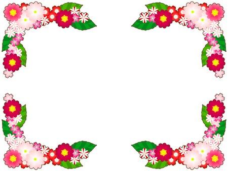 Spring Flower illustration frames, Primula, verbena