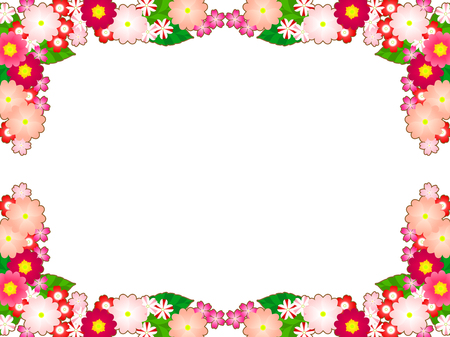 Spring Flower illustration frames, Primula, verbena