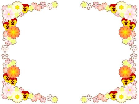 Spring flower illustration frame, primula and pansy