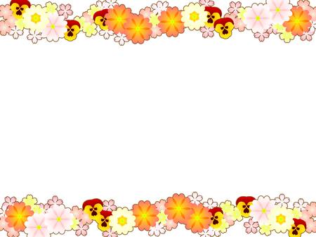 Spring flower illustration frame, primula and pansy Imagens - 119585127