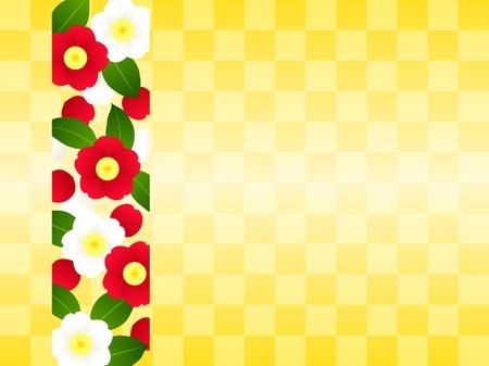 Japanese flower illustration frame, camellia and gold Illustration
