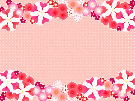 Illustration frames of spring flowers, petunias and verbena