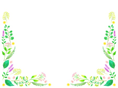 Frames of flowers and greenery illustration, watercolor style Иллюстрация