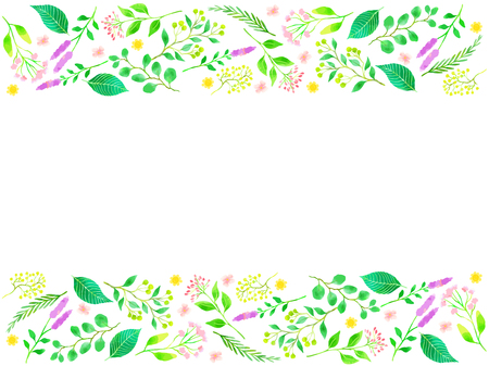 Frames of flowers and greenery illustration, watercolor style