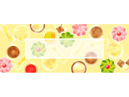 Illustration background cute candy, cookies, watercolor-style Çizim
