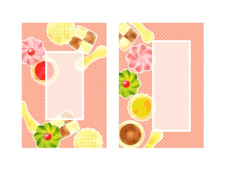 Illustration background cute candy, cookies, watercolor-style