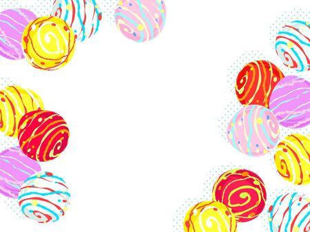 Colorful water balloon illustration background, Japanese toys Standard-Bild - 126480571