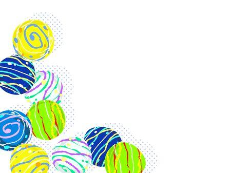 Colorful water balloon illustration background, Japanese toys Standard-Bild - 126480572