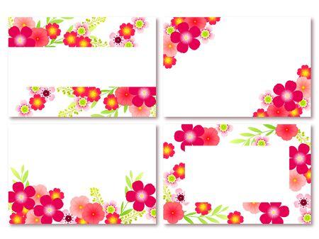 Summer Flower Frame, rosy Periwinkle, Wax flower