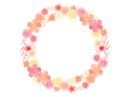 Summer flower frame, rosy Periwinkle, wax flower, watercolor wind