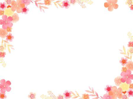 Summer flower frame, rosy Periwinkle, wax flower, watercolor wind