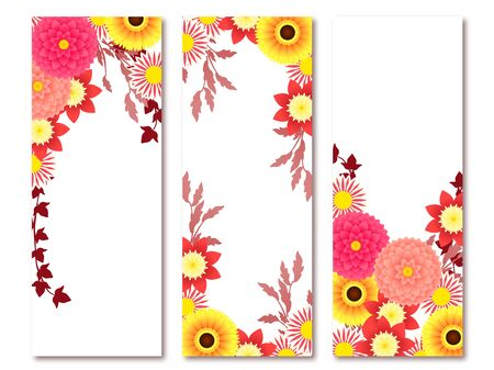 Dahlia and Gerbera illustration frames, autumn flowers, autumn colors Ilustração