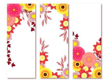 Dahlia and Gerbera illustration frames, autumn flowers, autumn colors Illustration