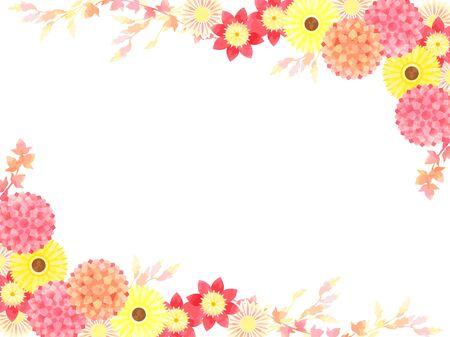 Dahlia and Gerbera illustration frames, autumn flowers, autumn colors Ilustrace