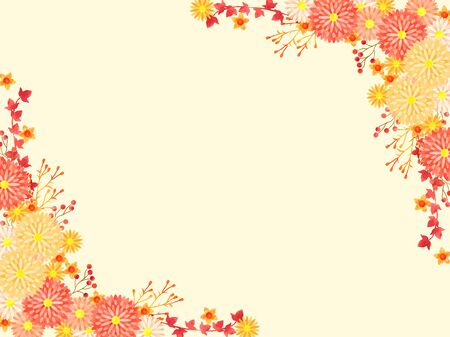 Illustration background of autumn chrysanthemum scape, red and orange