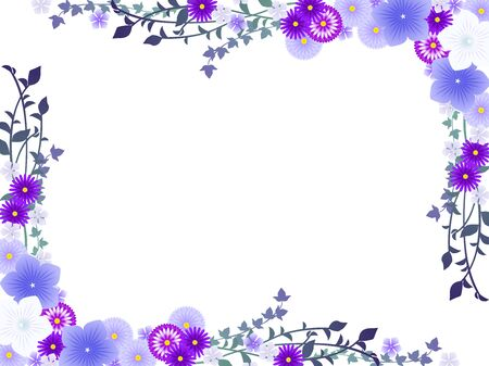 Chrysanthemums in purple autumn, illustration frame Illustration