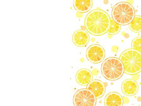 Sliced citrus illustration background, watercolor, orange, lemon, grapefruit