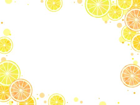Sliced citrus illustration background, watercolor, orange, lemon, grapefruit