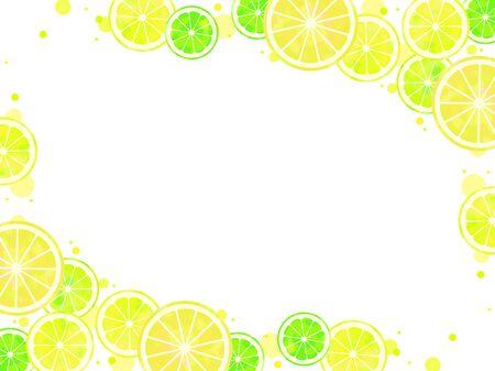 Tło ilustracji w plasterkach cytrusów, akwarela, limonka, cytryna, grejpfrut
