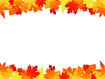 Autumn fallen leaves illustration frame,yellow and orange and red, vector material