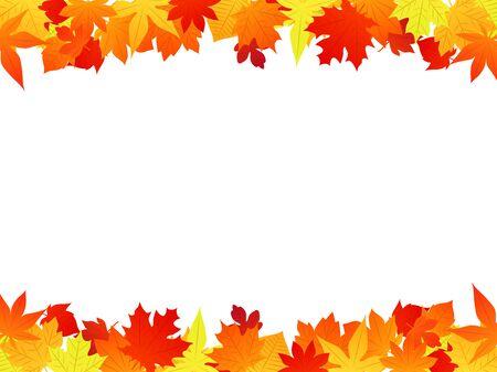 Marco de ilustración de hojas caídas de otoño, amarillo y naranja y rojo, material de vectores