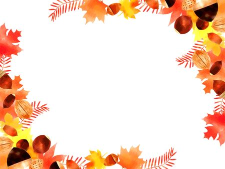 Autumn fallen leaves illustration frame, watercolor, yellow and orange and red, vector material