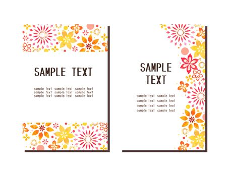 Autumn floral pattern cute frame, watercolor wind, vector material Illustration