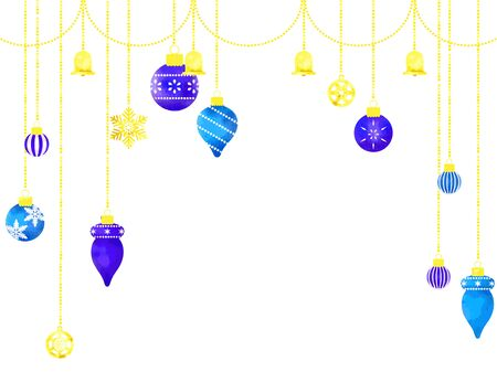 Christmas image illustrations, snowflakes and Xmas ornaments, watercolor sand, vector material