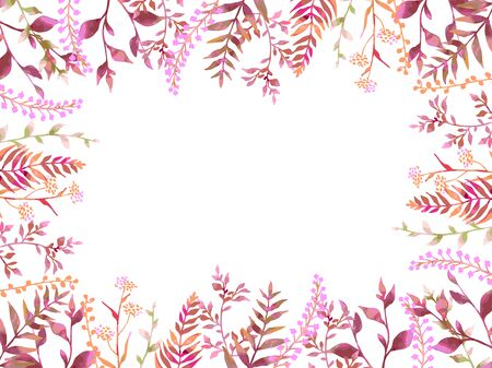 Autumn-colored plant illustration card