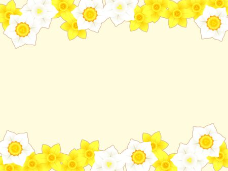 Illustration frame of daffodil flowers  イラスト・ベクター素材