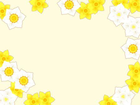 Illustration frame of daffodil flowers Ilustração