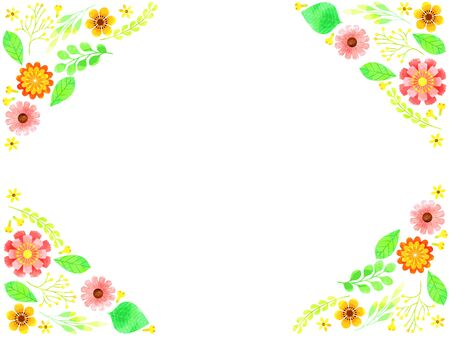 Colorful flowers and green frames