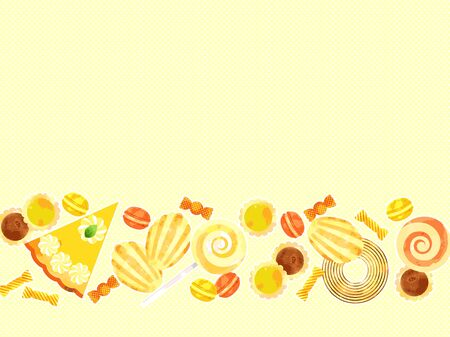 Illustration frame of various sweets cute