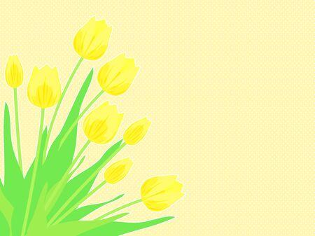 Illustration background of yellow tulips