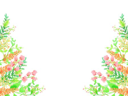 Flowers and green illustration background
